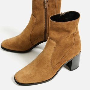 Zara suede leather high heel ankle boots